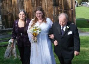 Happy bride, happy parents.
