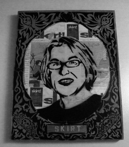 Nikki Hardin founded the newspaper skirt! when she was broke, middle aged and looking for some meaning in her life. Now the paper is all over the Southeast. Amazing. I saw this portrait of Nikki at Jestine's Kitchen, a restaurant in Charleston, S.C.