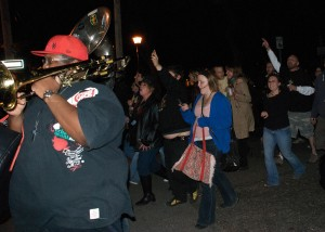 The Hustler Brass Band heads a second line toward Frenchmen Street after the Saints beat down the Vikings.