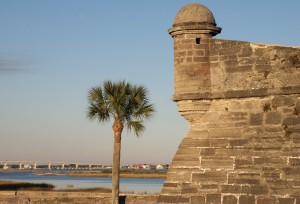 St. Augustine to me: the fort , a palm tree, the highway. Castilo de San Marcos is very old, I mean 17th century old.