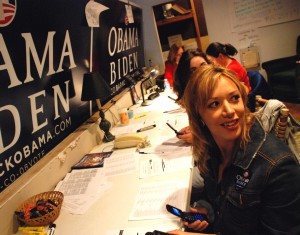 Stina Sieg Post Independent At around 10 a.m., Susie Meraz was one of about half a dozen at the Barak Obama Headquarters for Change in Glenwood calling up registered Democrats and encouraging them to get out and vote.