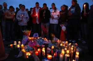Stab victim vigil at Silver High School. Silver City Daily Press.