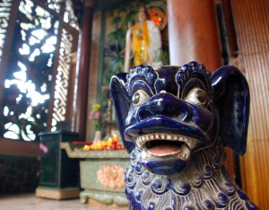 Outside a Chinese pagoda, outside the center of Ho Chi Minh City.